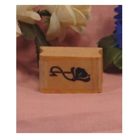 Right Single Flower Border Art Rubber Stamp