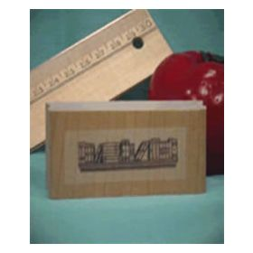 Small Books on Shelf Border Art Rubber Stamp
