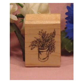Plant in Container Art Rubber Stamp