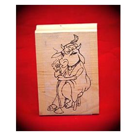 Singing Blues Cow Art Rubber Stamp