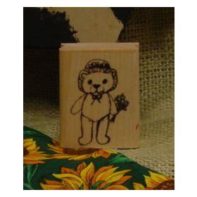 Bear with Flowers Art Rubber Stamp