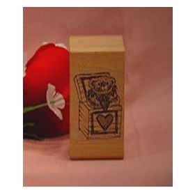 Bear in Heart Gift Box Art Rubber Stamp