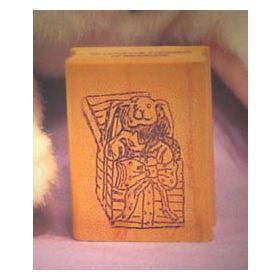 Bunny in Bow Gift Box Art Rubber Stamp