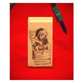 Christmas Bear in Gift Box Art Rubber Stamp