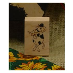 Dancing Cow Art Rubber Stamp 1
