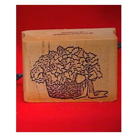 Basket of Poinsettias Art Rubber Stamp