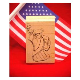 Statue of Liberty Bear Art Rubber Stamp