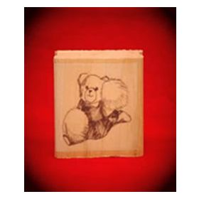Cheerleader Bear Art Rubber Stamp