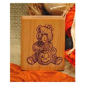 Bear with Pumpkin Art Rubber Stamp