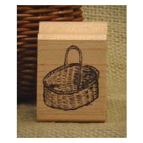 Oval Basket Art Rubber Stamp