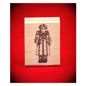 Boy Fan with Pennant Art Rubber Stamp