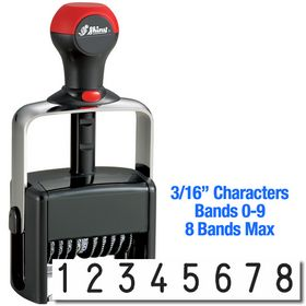 8 Wheel Shiny Heavy Duty Number Stamp 3/16 Characters