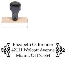Scroll Palatino Customized Address Ink Stamp