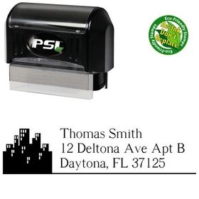 PSI Pre-Inked City EuroRoman Address Rubber Stamp