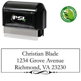 PSI Pre-Ink Swirl Border Garamond Personal Address Rubber Stamp