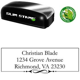 Slim Pre-Inked Swirl Border Garamond Personal Address Rubber Stamp