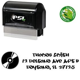 PSI Pre-Inked Record Juice Personalized Address Rubber Stamp