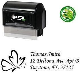 PSI Pre-Inked Butterfly Monotype Corsiva Personal Address Stamp