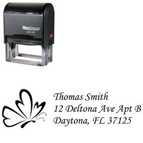 Self Inking Butterfly Monotype Corsiva Personal Address Stamp