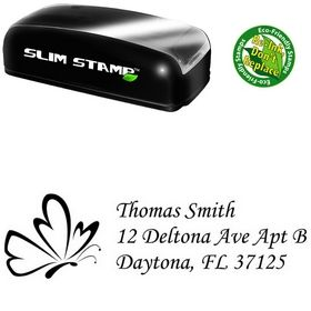 Slim Pre-Ink Butterfly Monotype Corsiva Personal Address Stamp