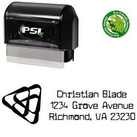PSI Pre-Inked Triangles Cuomotype Monogrammed Address Stamper