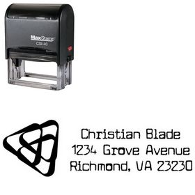 Self-Inking Triangles Cuomotype Monogrammed Address Stamper