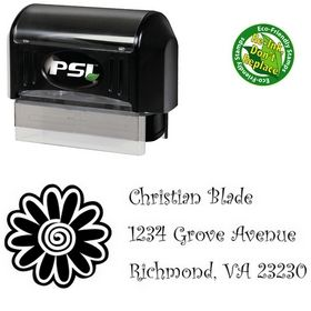 Pre-Inked Flower Curlz Personal Address Stamper