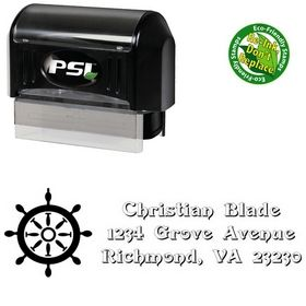 PSI Pre-Ink Rudder Swash Creative Address Ink Stamp