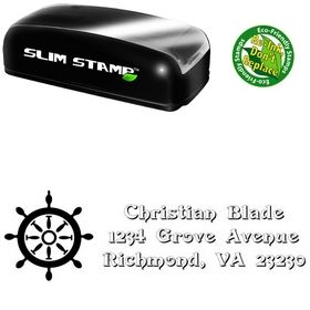 Slim Rudder Swash Creative Address Ink Stamp