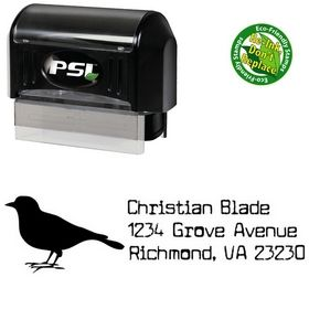 Pre-Inked Bird Cuomotype Address Rubber Stamp