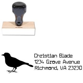 Bird Cuomotype Address Rubber Stamp