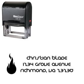 Self-Ink Fire Danube Initial Address Rubber Stamp