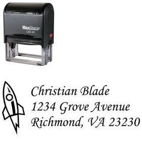 Self Inking Rocket Corsiva Address Stamp