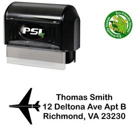 PSI Pre-Inked Airplane Arial Rounded Custom Address Stamp