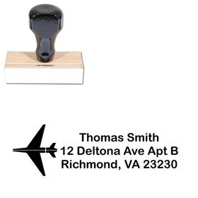 Airplane Arial Rounded Custom Address Stamp