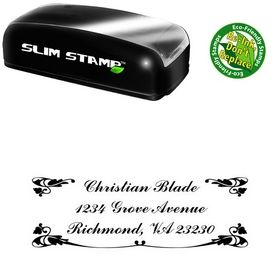 Slim Pre-Inked Vine Commercial Script BT Creative Address Stamper