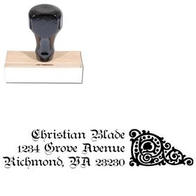 Teutonic Initial Address Rubber Stamp