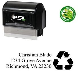 PSI Pre-Ink Arrow Triangle Times new roman Personal Address Rubber Stamp