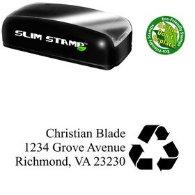 Slim Pre-Ink Arrow Triangle Times new roman Personal Address Rubber Stamp