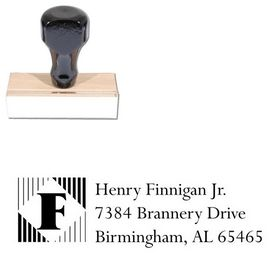 Lines Vertical Lapidary Inking Address Stamp
