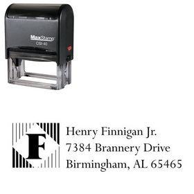 Self-Ink Lines Vertical Lapidary Inking Address Stamp