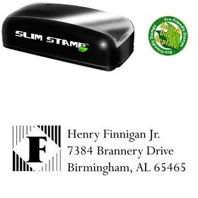 Slim Pre-Inked Lines Vertical Lapidary Inking Address Stamp