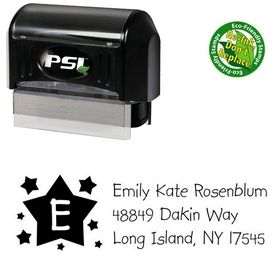 PSI Pre-Inked Stars Kidprint Personalized Address Stamp