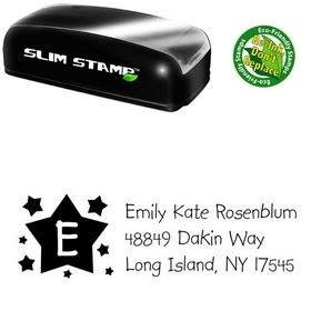 Slim Pre-Ink Stars Kidprint Personalized Address Stamp