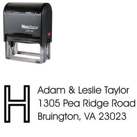 Self Inking Initial Avant Garde Creative Address Stamper