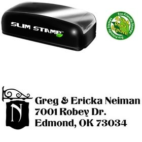 Slim Titania Monogrammed Address Stamper