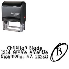 Self Inking Tom Violence Personal Address Stamper