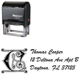 Self-Ink Initial Brush Script Personalized Address Stamper