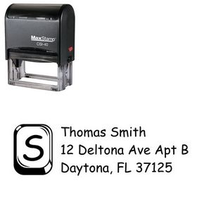 Self-Inking Glass Square Comic Sans Address Ink Stamp