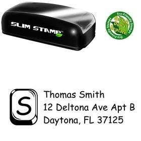 Slim Pre-Ink Glass Square Comic Sans Address Ink Stamp